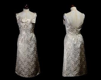 Original Vintage 1960s Metallic Gold Brocade Dress - small - FREE SHIPPING WORLDWIDE