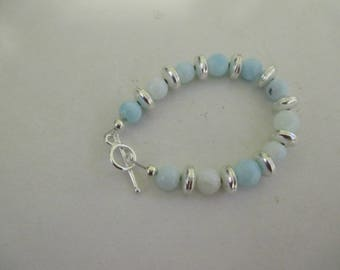 Sky blue opal bracelet with silver plated clasp and spacer beads