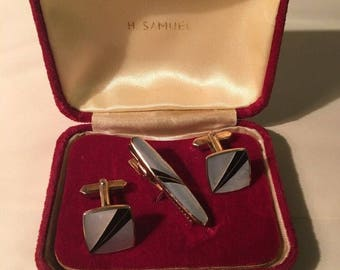 Vintage Cufflinks and Tie Clip 1960s Retro Jewellery