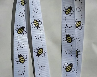 White with bumble bee ribbon Lanyard whistle ID badge holder safety breakaway fastener swivel lobster clasp handmade birthday teacher gift