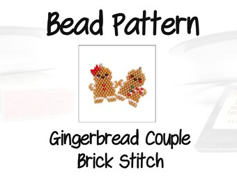 Christmas Gingerbread Couple, Brick Stitch Design Pattern   DIGITAL DOWNLOAD
