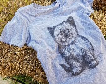 Kitten T Shirt - Cat Lover Tee - Kitty Tee Shirt - Kitten Cat Shirt - Women's American Apparel T Shirt - Item 1044 - Gray Ink