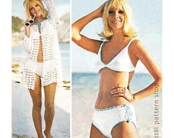 Crochet Bikini Pattern & Beach Cover Up Crochet Pattern Womens Mesh Jacket, Bathing Suit Instant Download PDF - C172