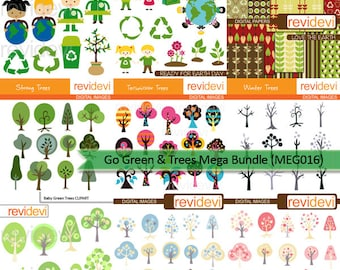 Recycle icon, Go green, trees clipart big bundle sale / nature tree clip art, kids / commercial use graphic, instant download