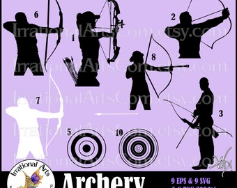 Archery Silhouettes set 2 - 9 EPS & SVG and png Vinyl Ready files digital graphics and SCL - Archers bow arrow bulls eye (Instant Download)