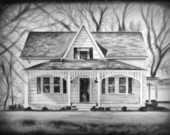 House Drawing, Housewarming Gift, House Portrait, Architectural Drawing, Custom House Sketch, Charcoal Drawing, Pencil Sketch, Custom Art