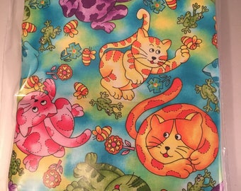 2 1/2 yards colorful kitty cat fabric