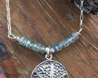 Sterling Mystic Fluorite Sand Dollar Necklace