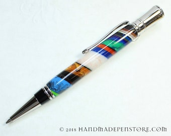 Parker Duofold Style - Handmade SUPERSTRATA acrylic pen with RHODIUM