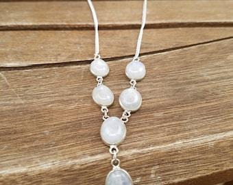 Handmade Rainbow Moonstone Y Necklace