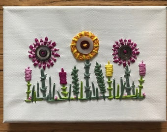 Wildflower Garden made with vintage buttons