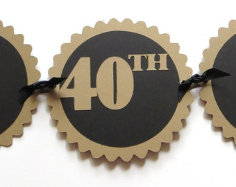 40th Birthday Banner - Happy 40th Birthday - Kraft Brown, Black or Your Colors