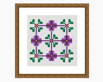 Cross Stitch Pattern, Modern cross stitch - DECONSTRUCTED PANSIES cross stitch chart, downloadable PDF