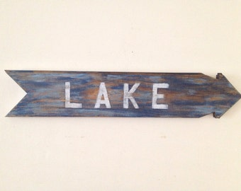 Rustic Lake Sign Wall Decor made form reclaimed wood