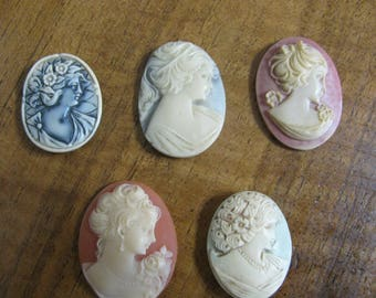 Hand Painted and Crafted Resin Cameos