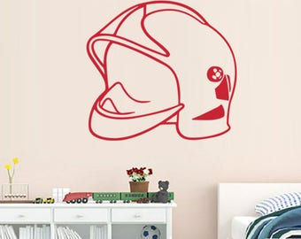 Large decal helmet of fire red or black