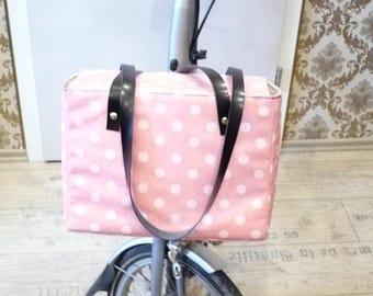 """Brompton bag """"Polka Dots"""" bike bag handmade one of a kind"""