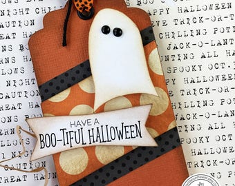 KIT Halloween Tag/Card Ghostly, Gift Tag, Teacher Appreciation, Client Gift Tag, Employee Halloween Gift Tag, Ghost Gift Tag, Halloween