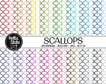 50% off SALE!! 48 Scallops Digital Paper • Rainbow Digital Paper • Commercial Use • Instant Download • #SCALLOPS-101-1