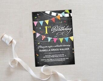 Birthday Party Invitation Template | Editable Invitation Printable | 1st Birthday Party Invite Chalkboard Flags | No. PB 2023B