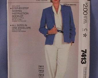 Vintage McCall's Pattern 7413, Misses Jacket, Sizes 6-20, New, Uncut