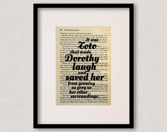 """Wizard Of Oz quote print - Mothers Day gift - Dog quote print - Dog lover gift - """"It was Toto that made Dorothy laugh and saved her..."""""""