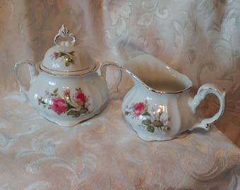 Vintage sugar bowl and creamer Bond China, Mid century Bond China sugar and creamer, VTG L & M sugar and creamer