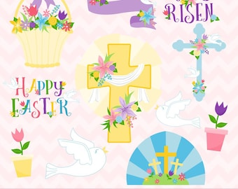 Easter Clipart, Easter Crosses Clipart, Christianity Clipart, Commercial Use, Digital Clipart, Digital Images