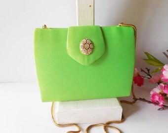 Vintage Evening Bag, Green Evening Bag, Evening Purse, Rhinestone Trim,  Lime Green Purse, Colorful Purse EB-0080