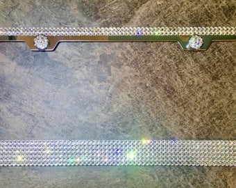 6 Row Chrome Metal License Plate Frame made with Swarovski Crystals - Bling - Car Jewelry