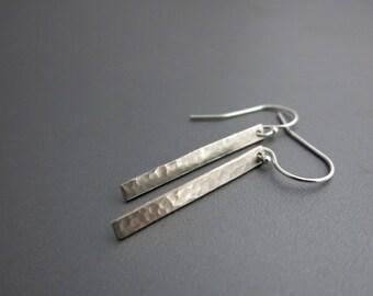 Long Silver Earrings Silver Hammered Earrings