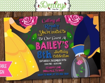 Beauty Invitation, Beast Invitation, Princess Belle Party, The Beast Invite, Belle Party (BE07)