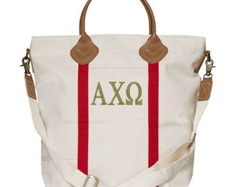AXO Alpha Chi Omega Sorority Embroidered Cotton Canvas Flight Bag