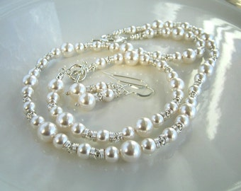 White Pearl Necklace Set Swarovski White Pearl Wedding Necklace Pearl Bridal Necklace Set (18 inches)