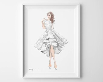 Custom Wedding Gown Illustration, Bridal Gown Illustration, Gown Portrait, Bride Gown Drawing, Wedding Dress Illustration