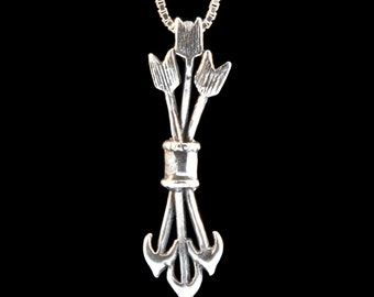 Silver Quiver and Arrow Necklace Quiver and Arrow Charm Arrow Pendant Silver Arrow Bow and Arrow Jewelry Archery Gift For Her Gift For Him
