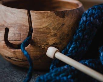 Extra Large Wood Yarn Bowl Crochet Bowl Wood Knitting Bowl Yarn Holder  Large Yarn Bowl Wooden