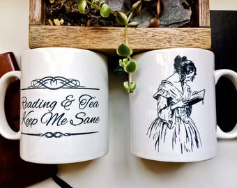 Mug for Readers, double sided 'Reading & Tea Keep Me Sane' and Picture of a Reading Lady as shown. Gift for Bookworms, Literary Gift.