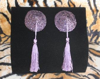 Burlesque Pasties Lilac Lavender Purple Tassels Showgirl Crystal Rhinestone