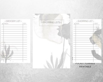 NEW Shopping Lists for Pocket Planner Printable