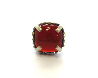 Vintage Sterling Silver Steely Patina Carnelian Statement Ring with Claw Prongs, size 8 1/4
