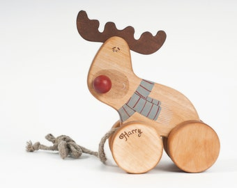 Red Nosed Reindeer Toy, Personalized Wooden Toy, Pull Toy For Toddler