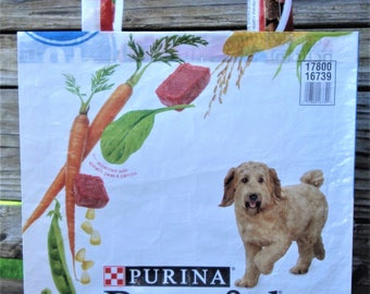 Recycled Feed Bag Tote, reusable tote bag, grocery tote, recycled shopping bag, reusable grocery bag, recycled tote bag, dog, Beneful