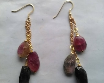 Earrings with tourmalines mounted in gilded silver