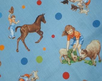 SALE : American Jane Peas and Carrots Farm Animals Children Blue  moda fabrics Fat Quarter yard or more