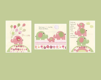 Baby Girl Nursery Wall Decor // Baby Girl Room Decor, Pink Elephant // Set of 3 11x14 // Hayley Bedding Set