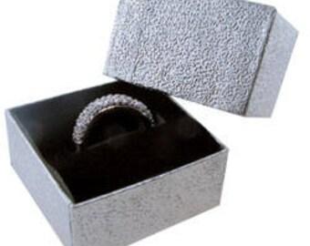 Silver Foil Square Ring Box with Black Foam (Dozen)(DBX3801S)