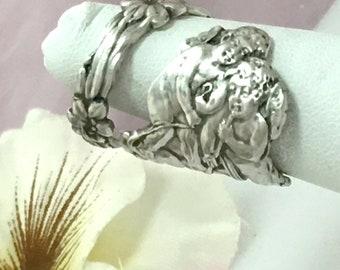 Rare Cupids Cherubs Ring Sterling Silver Spoon, Wallace, Sz 6 - 10 Custom, Vintage Silverware Jewelry Her Birthday Anniversary Gift