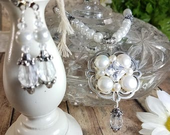 Tudor Style Necklace Earrings Jewelry Set, Free Shipping