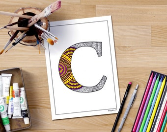 Colouring Pages Alphabet Printable : Zentangle alphabet printable coloring page letter k adult
